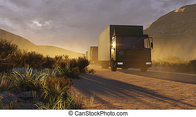 Military trucks on a desert road 2
