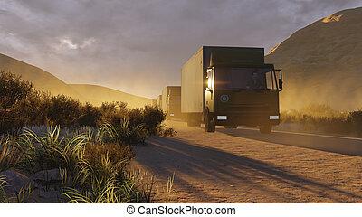 Military trucks on a desert road 2