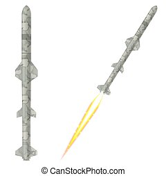 Military two-stage rockets on a white background. Vector illustr