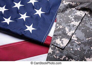 Military Uniform On American Flag