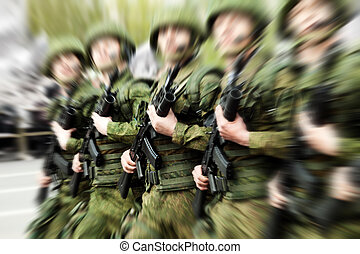 Military uniform soldier row - Army parade - military force...