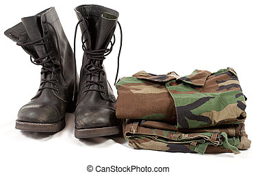 military camouflage uniforms and boots.