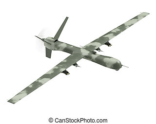 Military unmanned aerial vehicle isolated on white - ...
