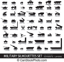 Military - High detailed military silhouettes set. Vector on...