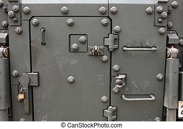 military vehicle door as background