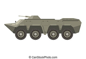 Military vehicle with four pairs of wheels and cannon