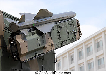 Military vehicle with small missile