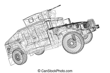 Military Vehicle with tower and machine gun ,body structure, wire model