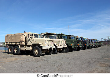 Military Vehicles - Row of military vehicles