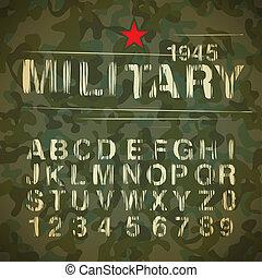 Military Vintage Alphabet, vector Eps10 illustration.
