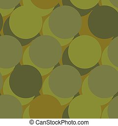 Military war seamless pattern. Army abstract circle, round texture. Protective ornament for soldiers. Green soldiery background. khaki for hunters and troops