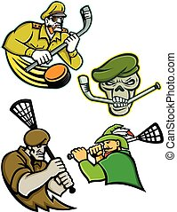Military Warriors Lacrosse and Ice Hockey Mascot Collection