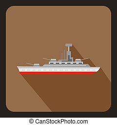Military warship icon, flat style