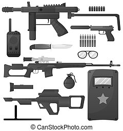Military weapon, army special forces arms ammunition vector icons