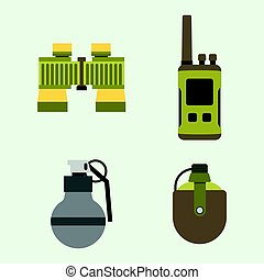 Military weapon guns armor forces american fighter ammunition camouflage sign vector illustration.