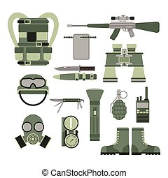 Military weapon guns symbols armor set forces design and american fighter ammunition navy camouflage sign vector illustration.