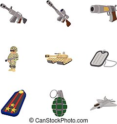Military weapons icons set, cartoon style