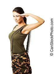 Military woman making salute gesture