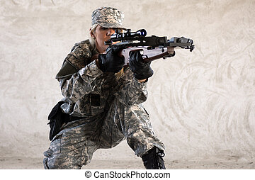military woman with crossbow