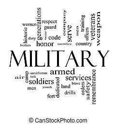 Military Word Cloud Concept in black and white with great terms such as honor, sacrifice, country, brave and more.