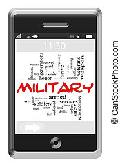 Military Word Cloud Concept on Touchscreen Phone
