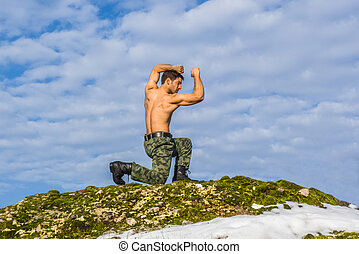 Military young man training martial