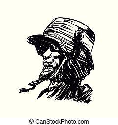 Military zombie engraving