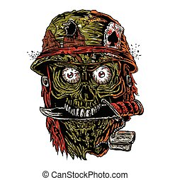 military zombie with knife in mouth.zombie illustration?