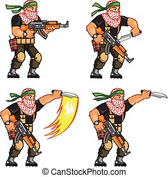Militia Animation Sprite - Vector Illustration of Arabic ...