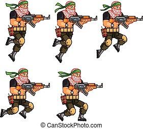 Militia Animation Sprite - Vector Illustration of Arabic...