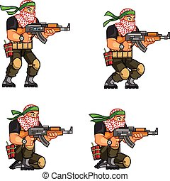 Militia Animation Sprite - Vector Illustration of Arabic...