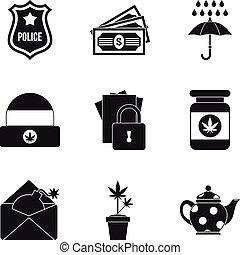 Militia icons set, simple style - Militia icons set. Simple...