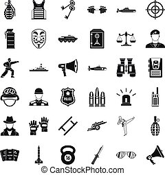 Militia officer icons set, simple style - Militia officer...