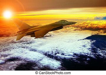 militry, avión, el volar encima, nube, scape
