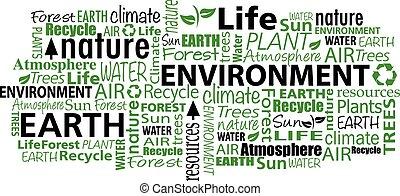 miljö, collage, ord, moln