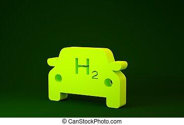 miljö, grön, vänskapsmatch, skylt., 3, isolerat, h2, ikon, emission., illustration, väte, noll, cell, render, concept., minimalism, drivmedel, bakgrund., bil, gul, station, eco
