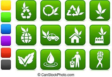 miljö, grönare, kollektion, ikon