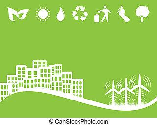 miljö, och, eco, symboler