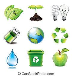 miljö, photo-realistic, vektor, sätta, ikonen