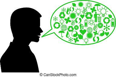 miljö, talande, grön, mänsklig