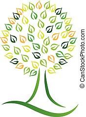 miljöbetingad, design, vektor, konst, träd