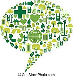 miljöbetingad, dialog, bubbla, ikonen