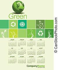 miljöbetingad, grön, calendar.