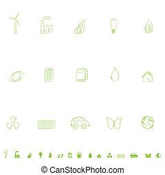 miljöbetingad, ikon, sätta