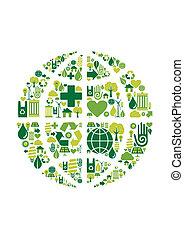 miljöbetingad, klot, mull, symbol, ikonen