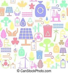 miljöbetingad, seamless, bakgrund, icon., mönster
