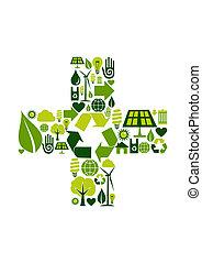 miljöbetingad, symbol, plus, ikonen