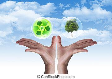 miljöbetingad, symbol, skydd, earth., räcker
