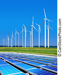 miljömässigt, godartat, sol, paneler