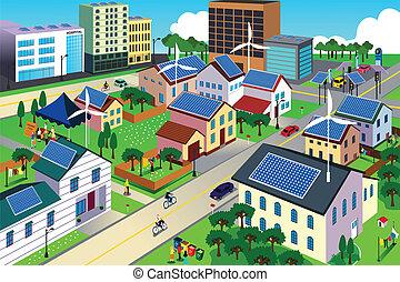 miljø, byen, grønne, kammeratlig, scene